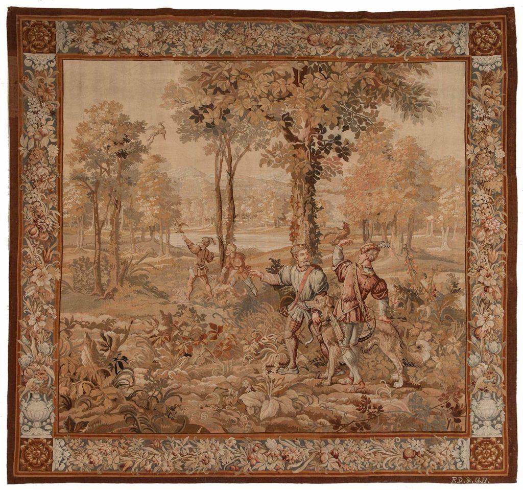 Huntnig Scene French Tapestry  Tapestry at Essie Carpets, Mayfair London