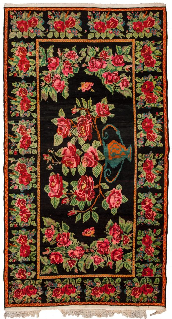 Russian Karabakh Gol Farangi Kilim Rug at Essie Carpets, Mayfair London