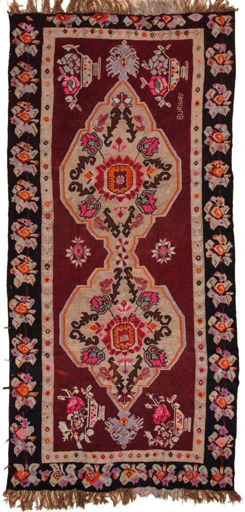 Signed Russian Kilim at Essie Carpets, Mayfair London