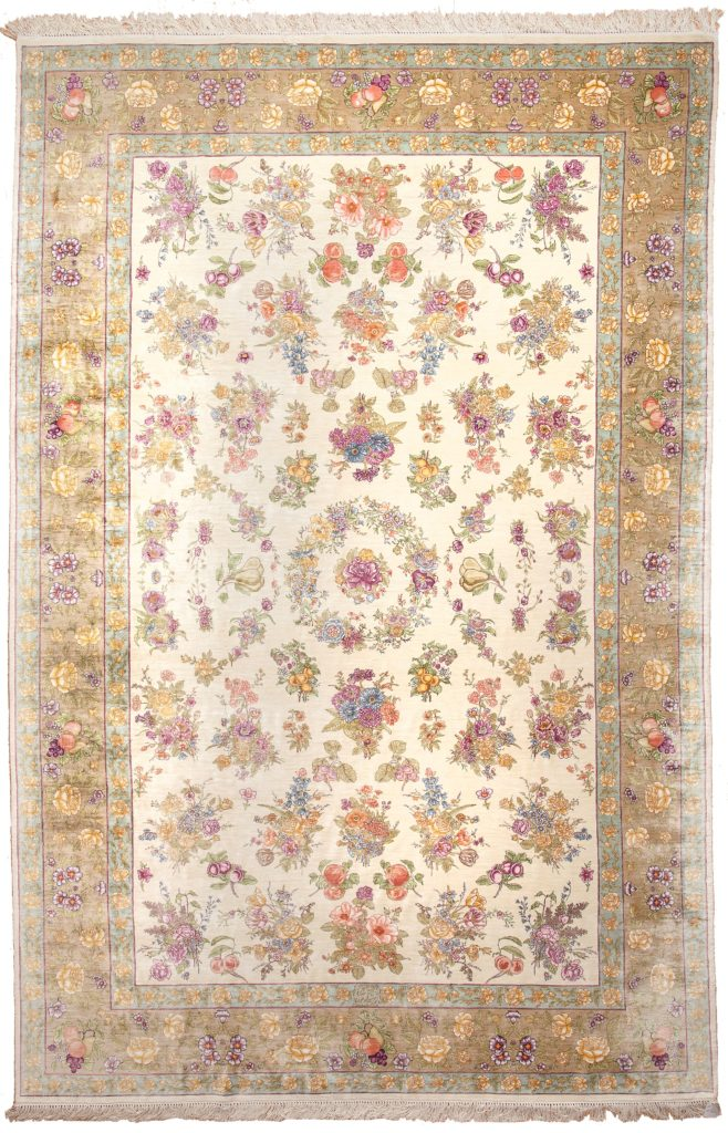 Extremely Fine Persian Tabriz Floral and Fruit Rug at Essie Carpets, Mayfair London