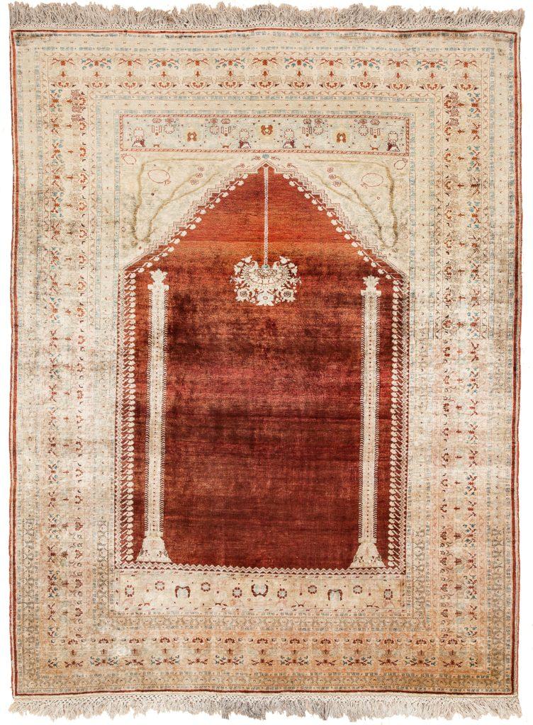 Persian Mihrab Rug at Essie Carpets, Mayfair London