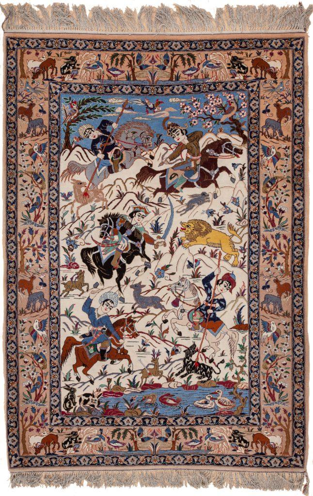 Persian Esfahan Men on Horses, Animals Rug at Essie Carpets, Mayfair London