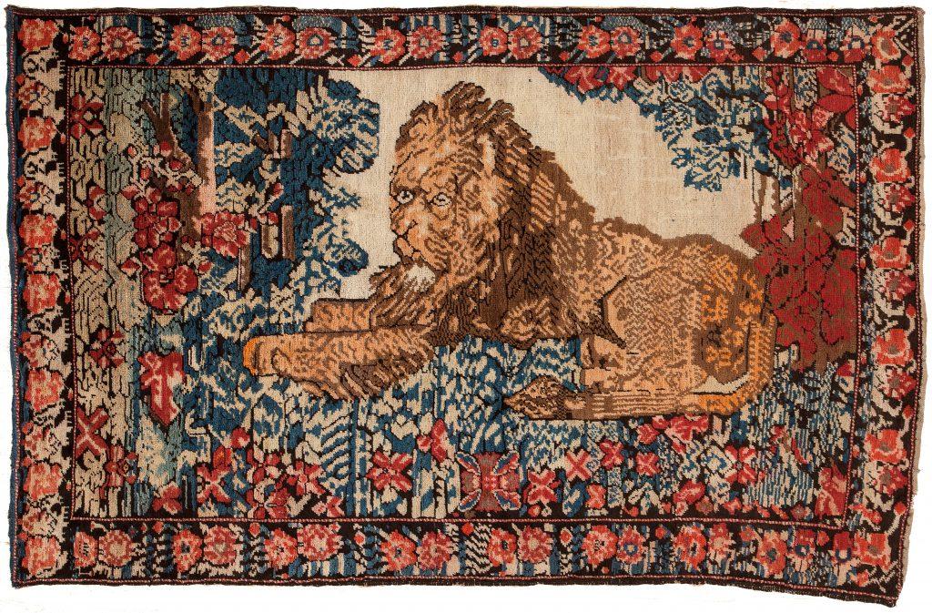 Old Persian Karabakh Lion Rug at Essie Carpets, Mayfair London