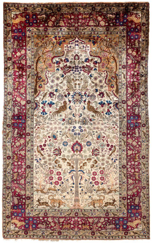 Antique Kashan Pure Silk Rug at Essie Carpets, Mayfair London