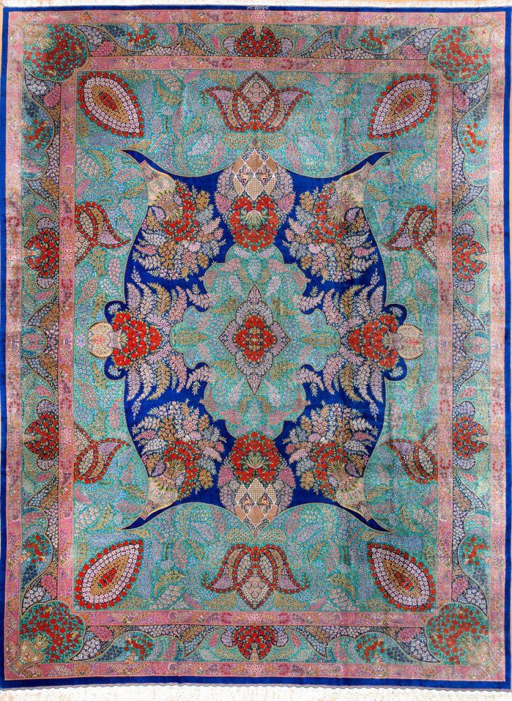 Persian Qum Fine Carpet - Pure Silk - Millefleurs (Thousand Flowers) Central Medallion - Floral cornucopia on blue base