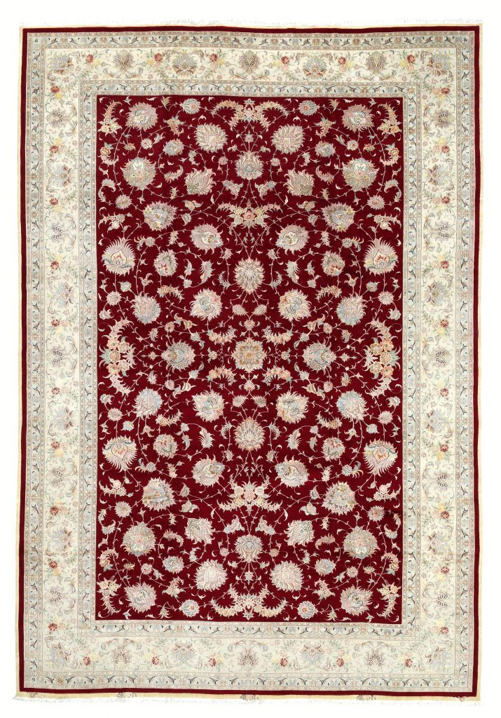 Fine Persian Tabriz Large Carpet - Oversize - Allover design - Silk and Wool - Neutral complexion on red base