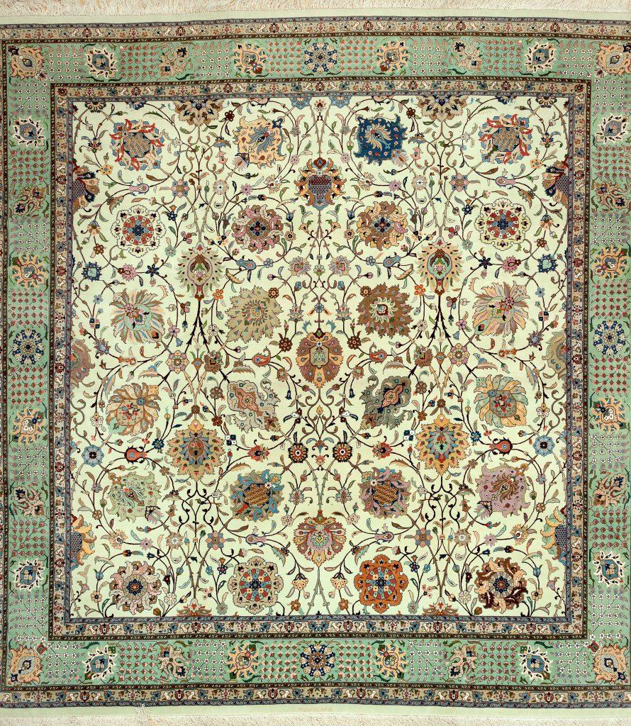Fine, Signed Square Persian Tabriz Carpet at Essie Carpets, Mayfair London