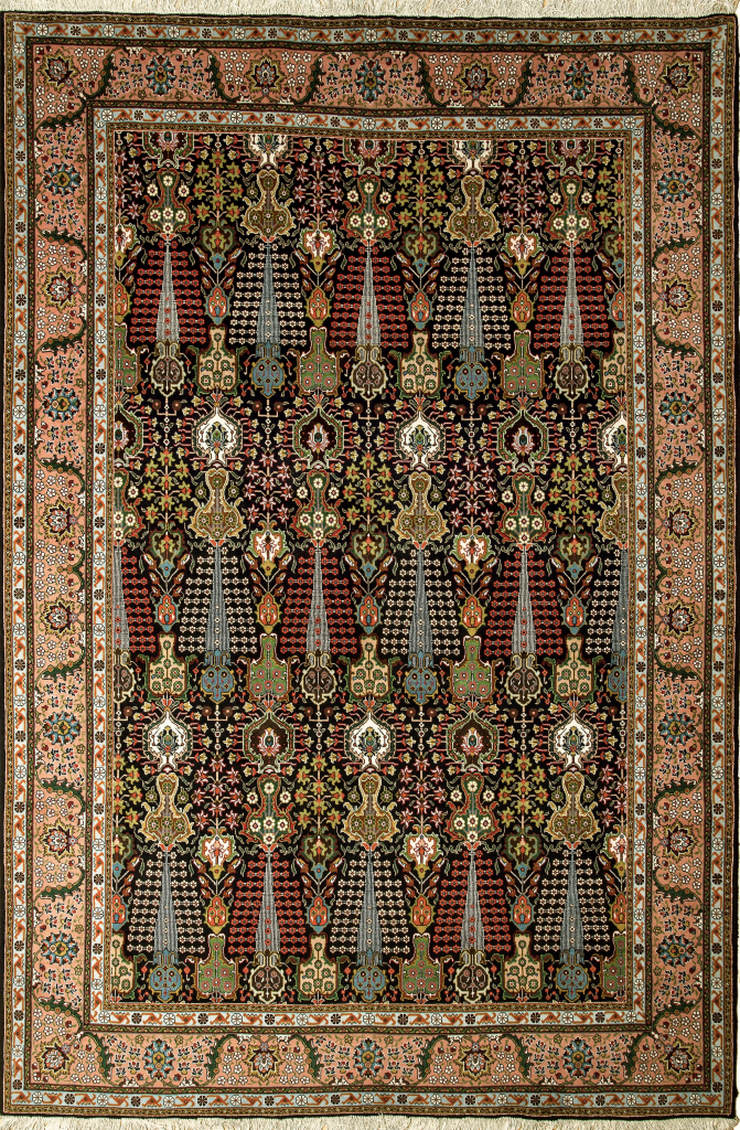 Persian Tabriz Carpet dark background colours for sale at Essie carpets mayfair London