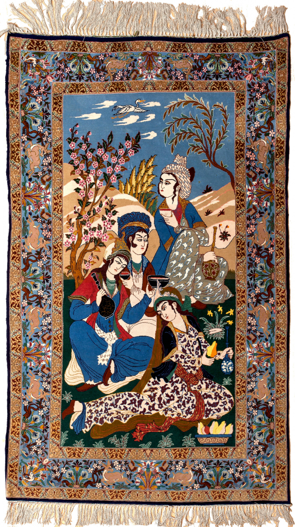 Esfahan Rug Pictorial Silk and Kork Wool on Silk Foundation for sale at Essie carpets Mayfair London