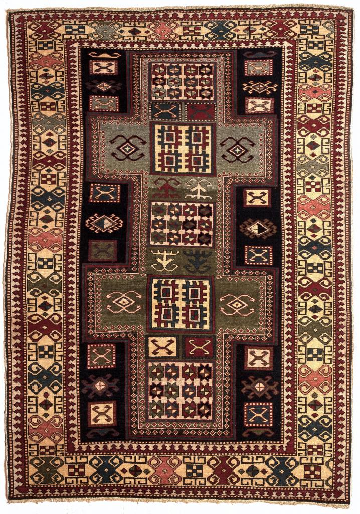 Egyptian Rugfor sale at essie carpets mayfair london Old Medallion design Wool Pile Black Rectangle