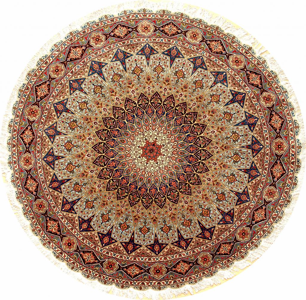 Persian Tabriz Round Rug - Silk and Wool