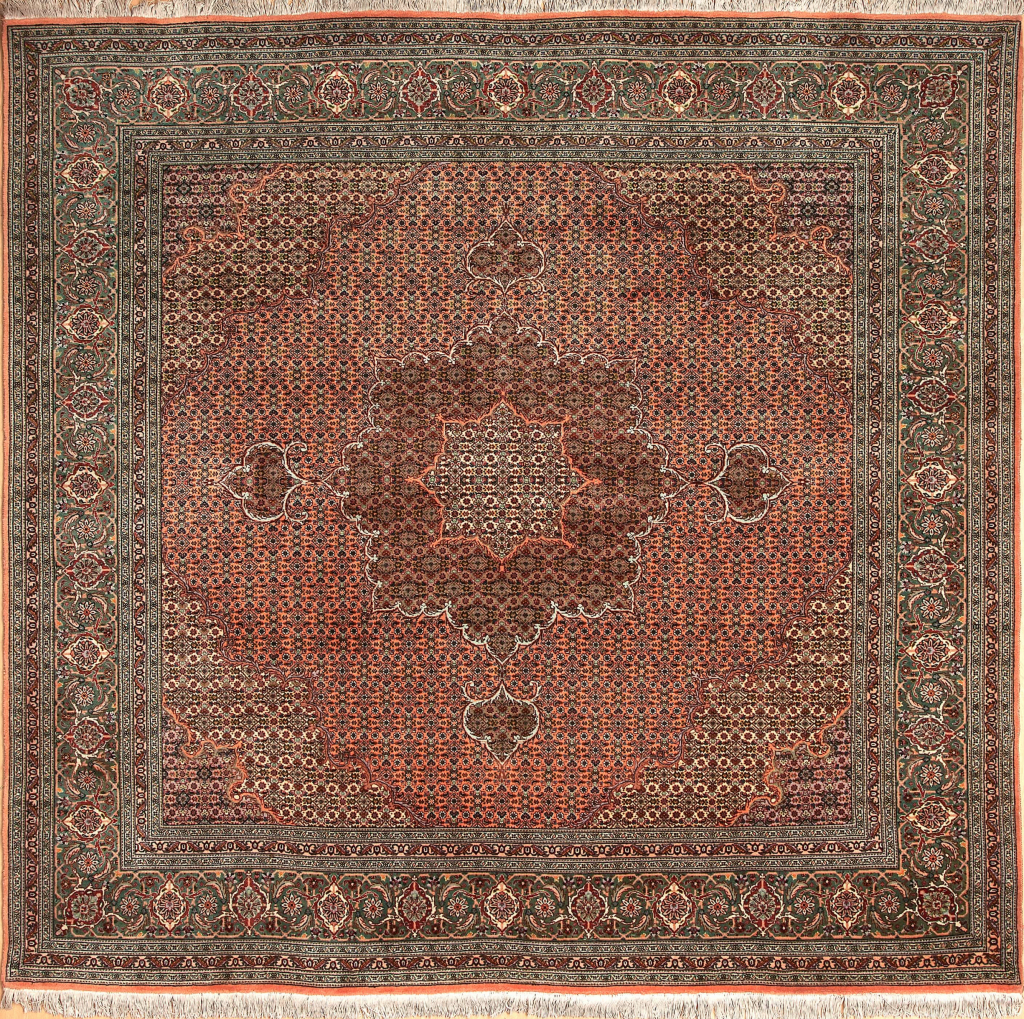 Persian Tabriz Square Rug - Wool - Central Medallion