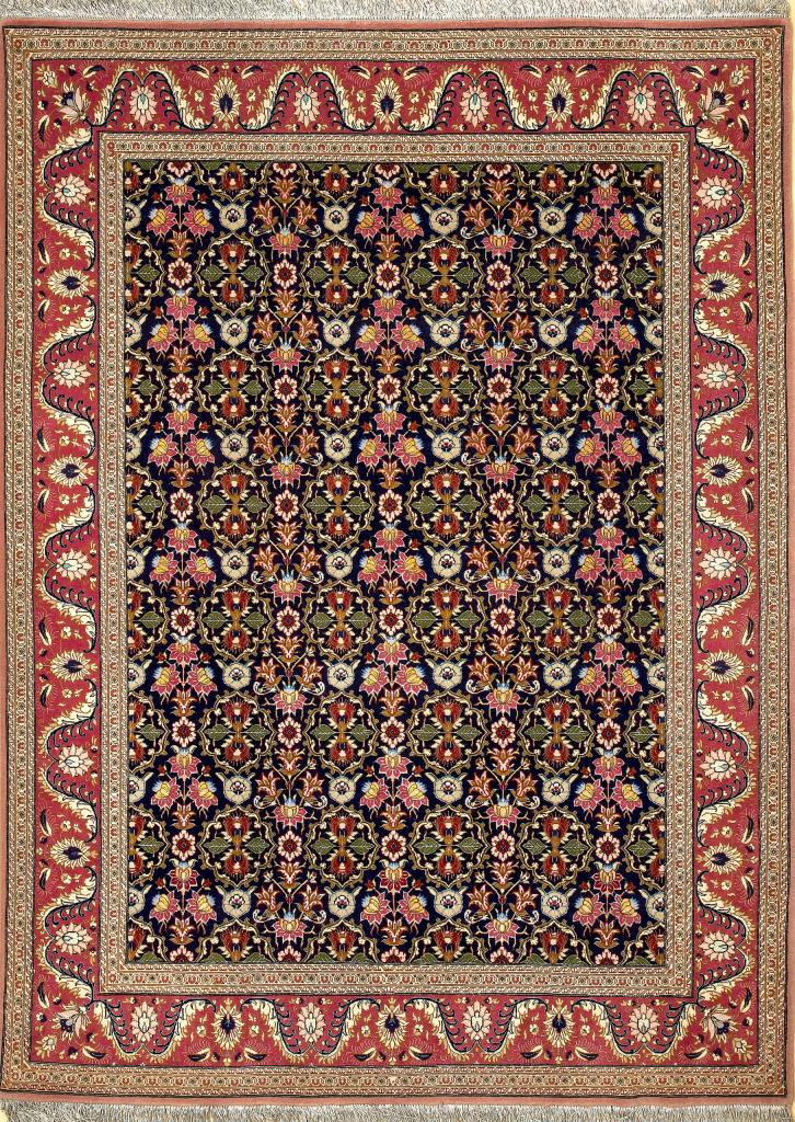 Persian Tabriz Allover Rug - Silk and Wool
