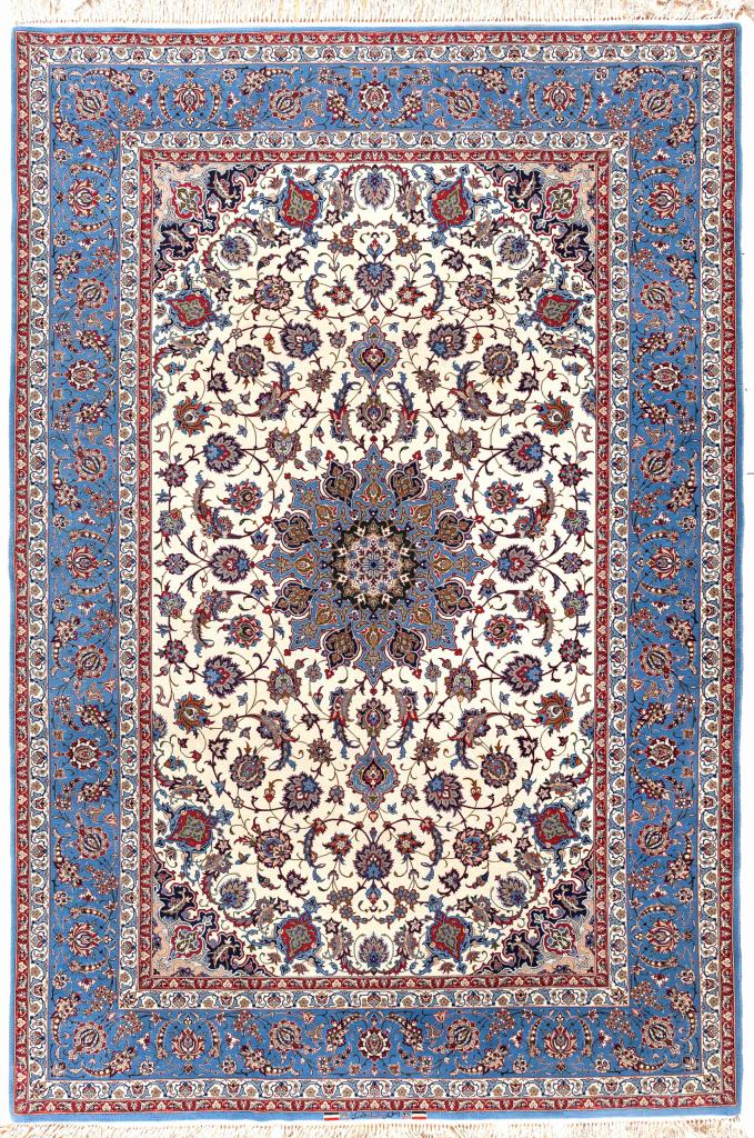 Signed Persian Isfahan Rug - Silk and Wool