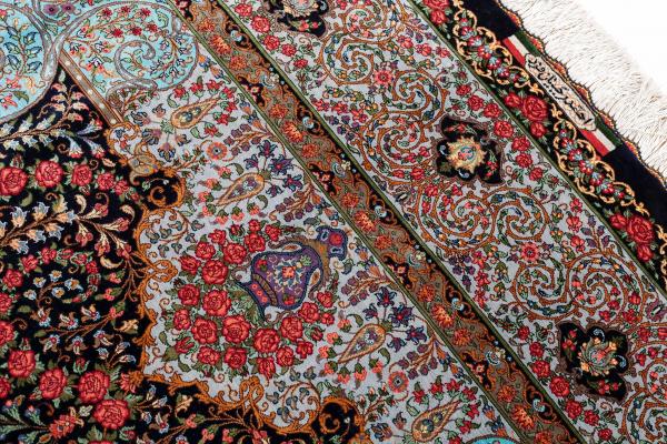 Signed Persian Qum Carpet - Very Fine Pure Silk