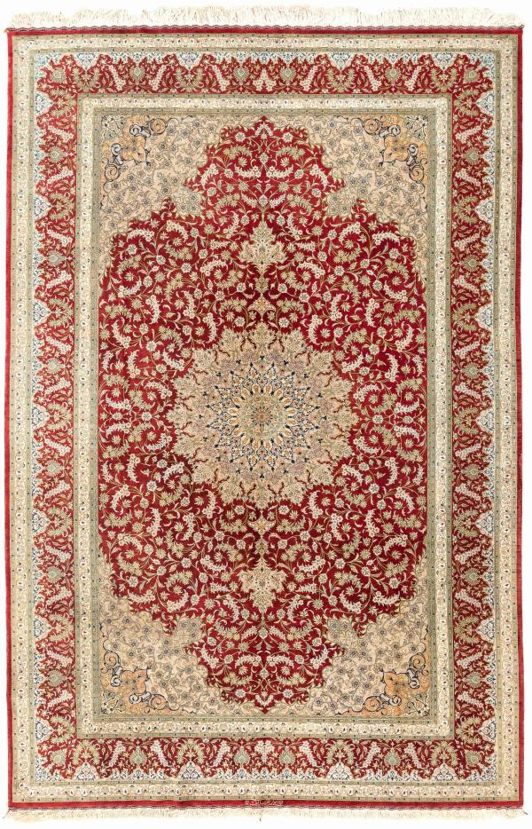 Signed Persian Qum Carpet - Fine Pure Silk