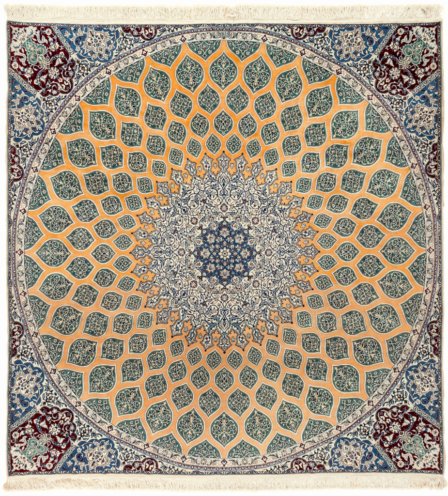 Signed Persian Nain Square Carpet - Fine Silk and Wool