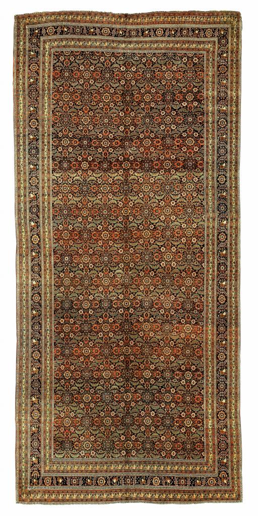 Large Antique Persian Bijar Gallery Carpet - Allover Herati Design