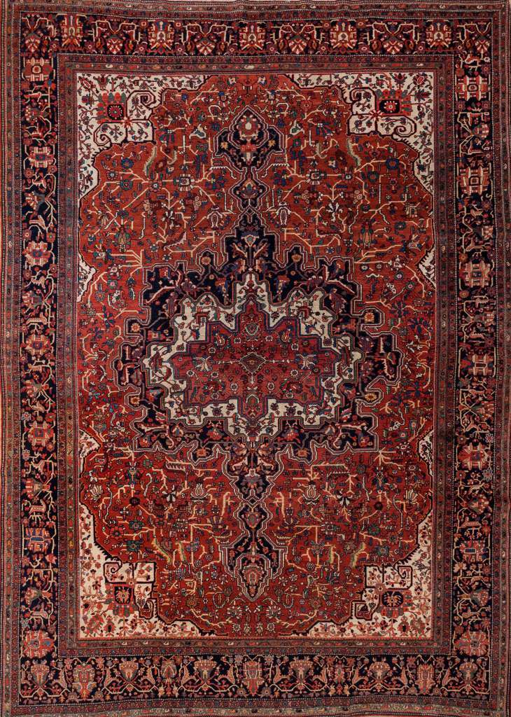 Persian Farahan Saruk Carpet - Wool - Central Medallion