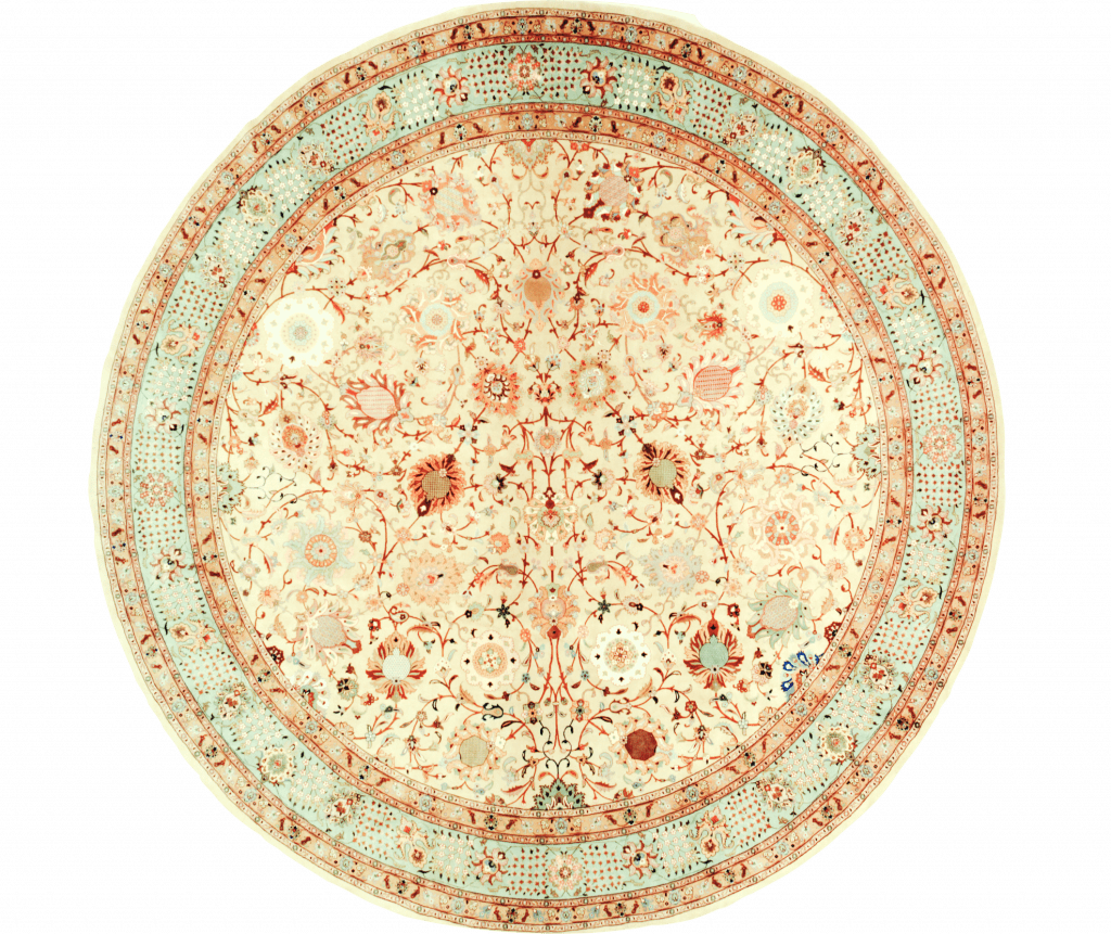 Round Fine Persian Tabriz Carpet at Essie Carpets, Mayfair London