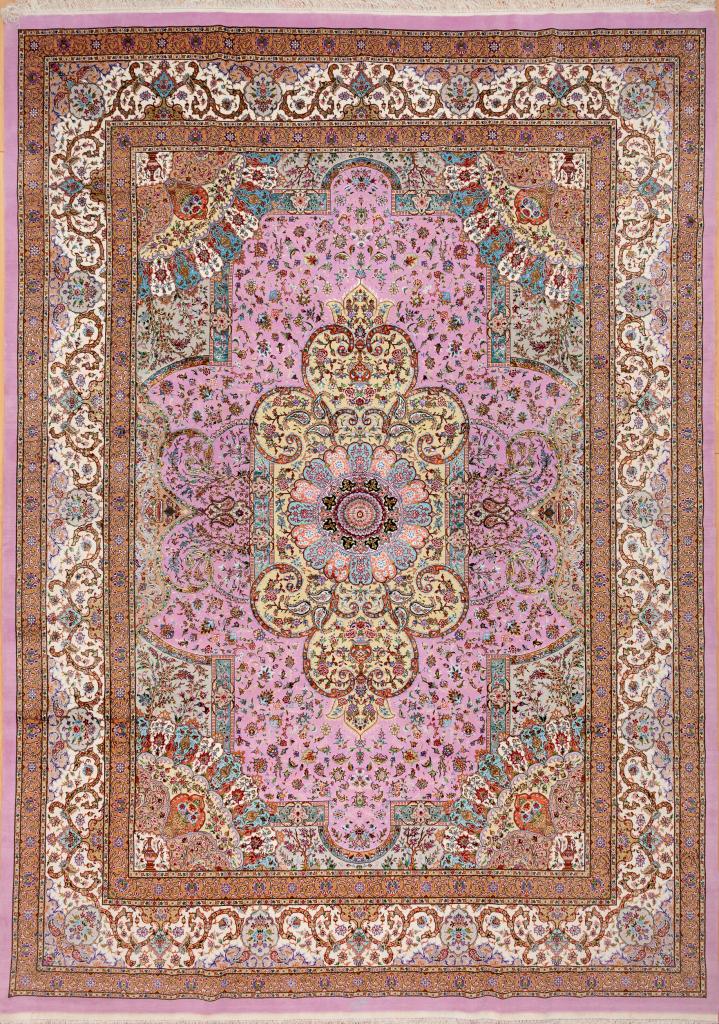 Signed Persian Tabriz Carpet - Handmade - Silk and Wool - Central Medallion