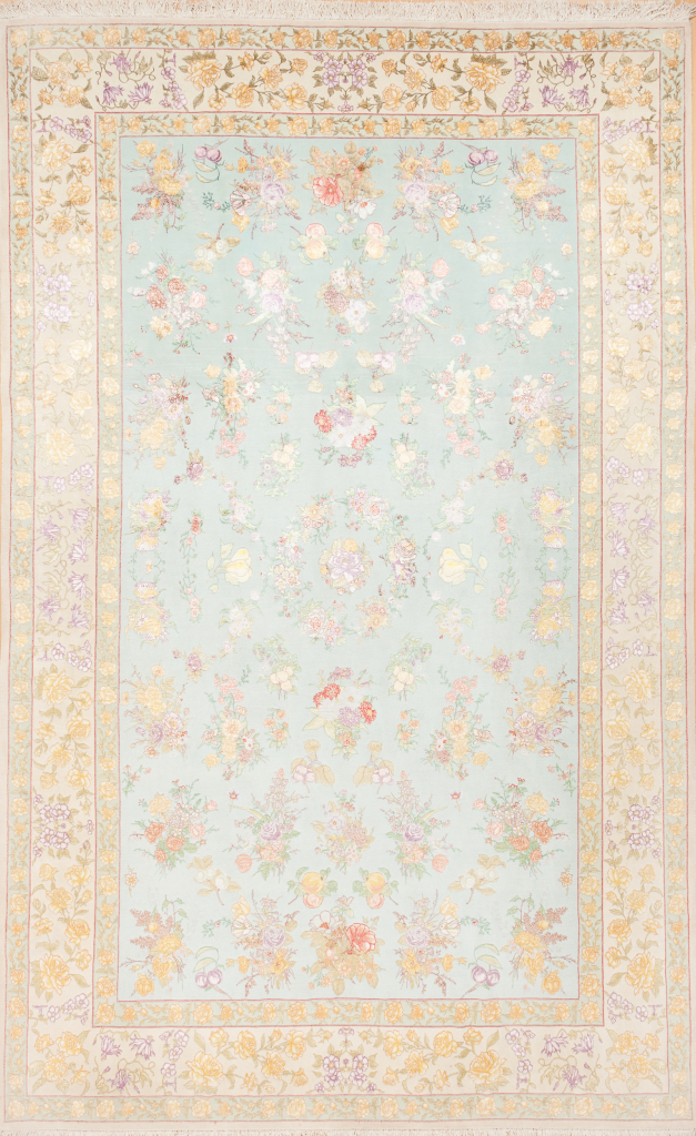 Persian Tabriz Floral Carpet - Fine Silk and Wool - Allover Design