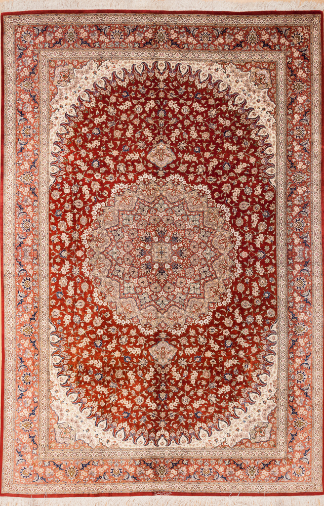 Signed Persian Qum Rug - Pure Silk - Central Medallion - Red Field