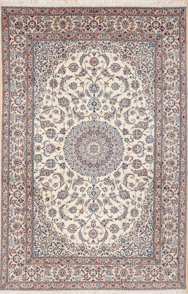 Signed Persian Nain Carpet - Silk and Wool - Central Medallion