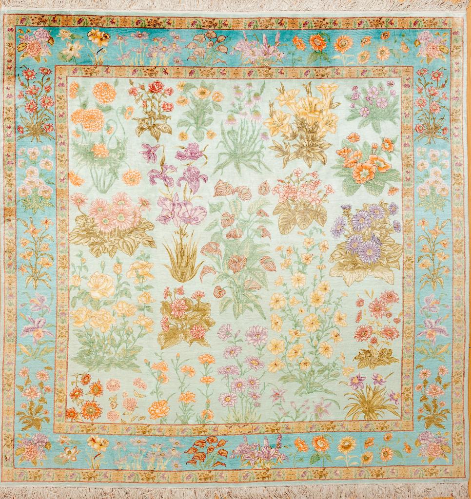 Signed Persian Tabriz Square Carpet - Pure Silk - Allover Design - Floral