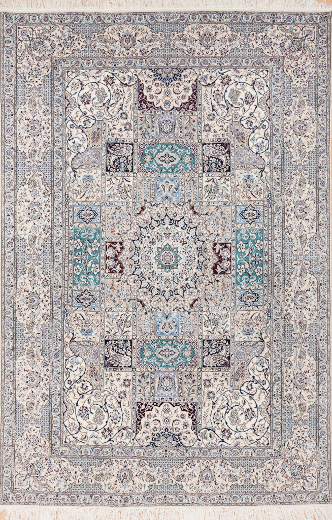 Persian Nain Carpet - Silk and Wool - Central Medallion - Geometric