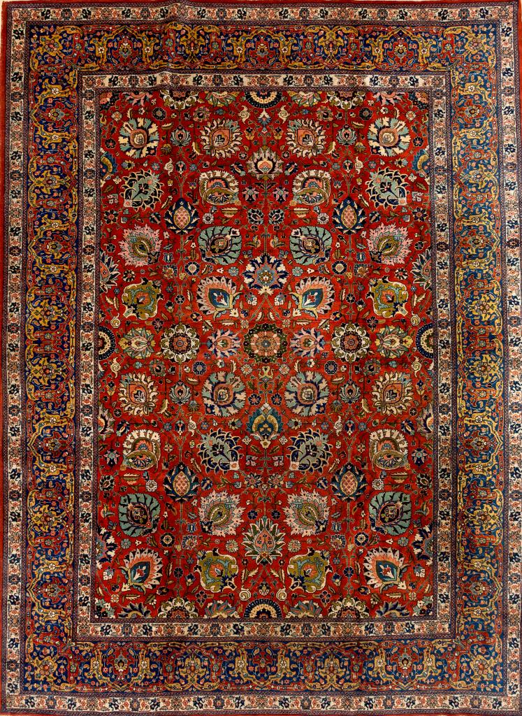 Handmade Persian Tabriz Carpet - Fine Wool - Allover Design - Interlocking Palmettes