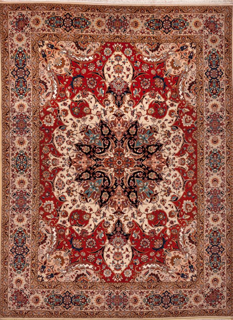 Handmade Persian Tabriz Carpet - Fine Silk and Wool - Central Medallion