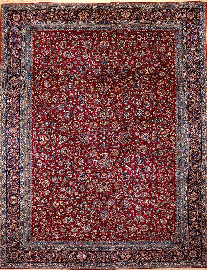 Very Old Persian Tudeshk Nain Carpet - Very Fine Wool - Allover Design - Floral