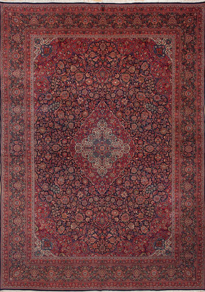 Persian Kashan Wool Carpet Oversize - Central Medallion - Dark Complexion on Navy Base