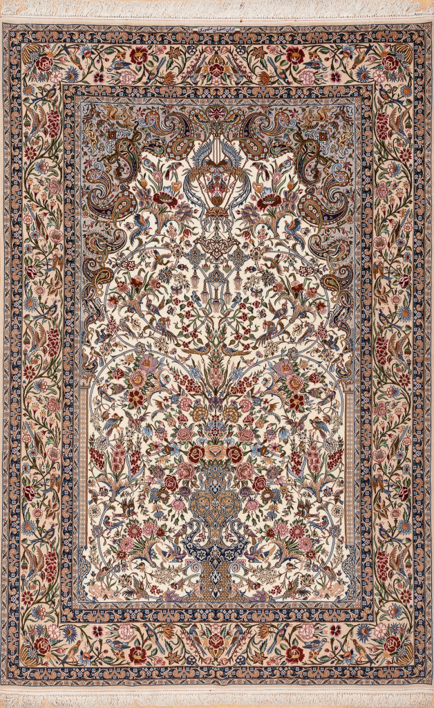 Fine Persian Isfahan Silk and Wool Carpet - Mihrab Tree of Life Design - Approx 3x2m (10x7ft) - Neutral complexion