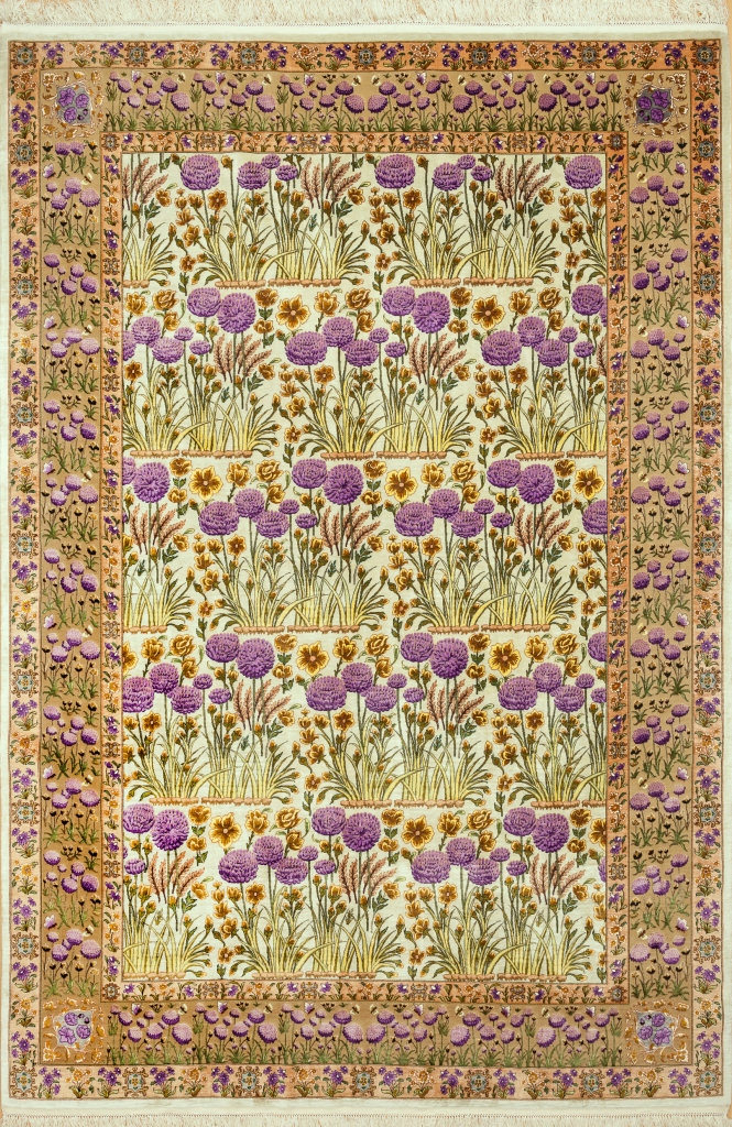 Very Fine Persian Tabriz Allover Rug - Pure Silk with Floral motif Approx 3x2m (10x7ft) Light complexion on yellow base.
