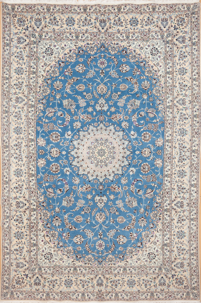 Persian Nain Fine Silk and Wool Carpet - Ivory Central Medallion - Handwoven in Iran Approx 3x2m (10x7ft) Light complexion on blue base