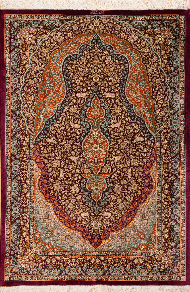 Persian Qum Pure Silk - Fine Mihrab Rug with floral motif Approx 2x1.5m (6x4ft) Intricately detailed with bright motifs on red base