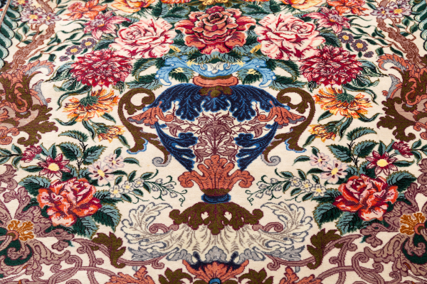 Persian Isfahan Signed Rug - Very Fine small floral Mihrab with Vase motif Approx 1.5x1m (5x4ft) Neutral complexion with cornupia of coloured blooms
