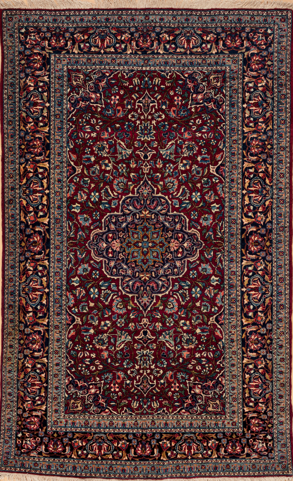 Persian Tudeshk Fine Rug - Antique - Central Medallion Rug Approx 2.5x1.5m (7x5ft) Colours: dark complexion in red