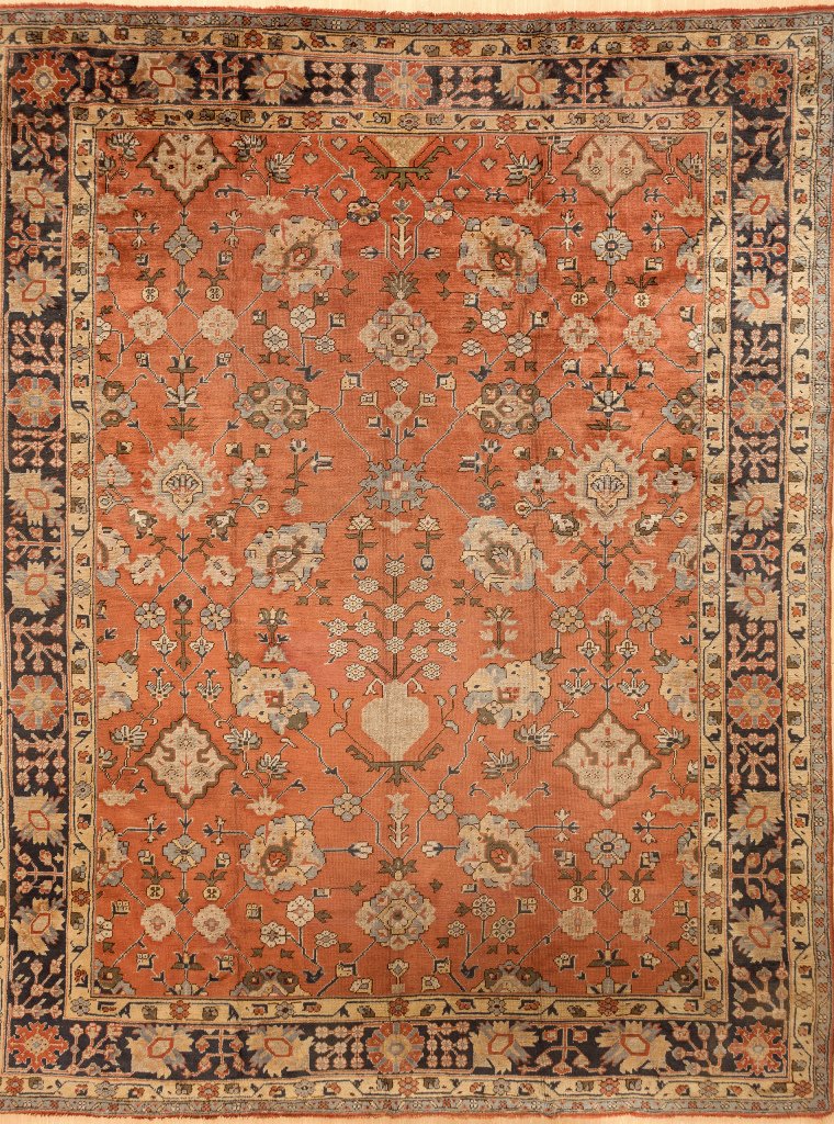 Fine Ushak Oversize Carpet - Wool - Neutral complexion on orange base with navy border and ivory accents