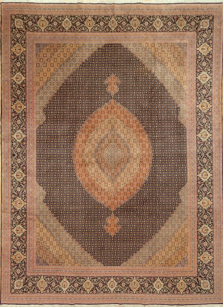 Persian Tabriz Silk and Wool Carpet - Central Medallion - Mahi Design