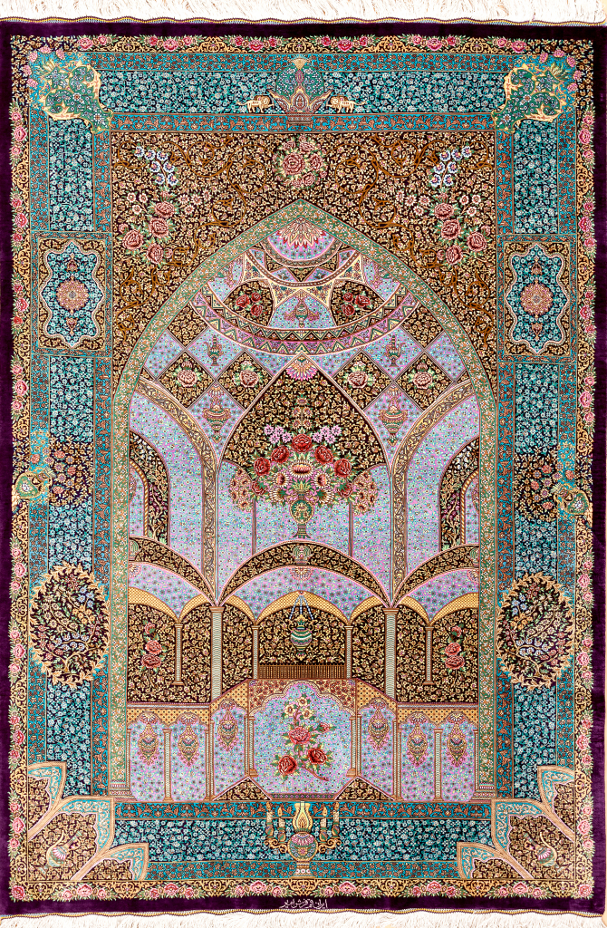Pure Silk Persian Qum Mihrab Rug - Signed - Millefleurs - Approx 2x1.5m (7x4ft) - Neutral colour complexion with bright colours emphasising floral bouqet