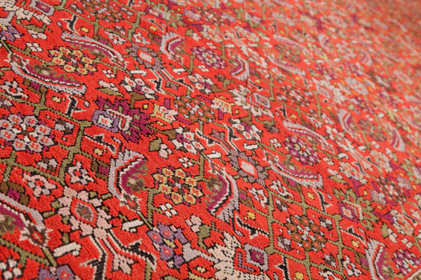 Russian Large Gallery Carpet - Wide Runner - Wool - Approx 5.5x2m (18x6ft) - Allover Herati Design - Neutral complexion on red base
