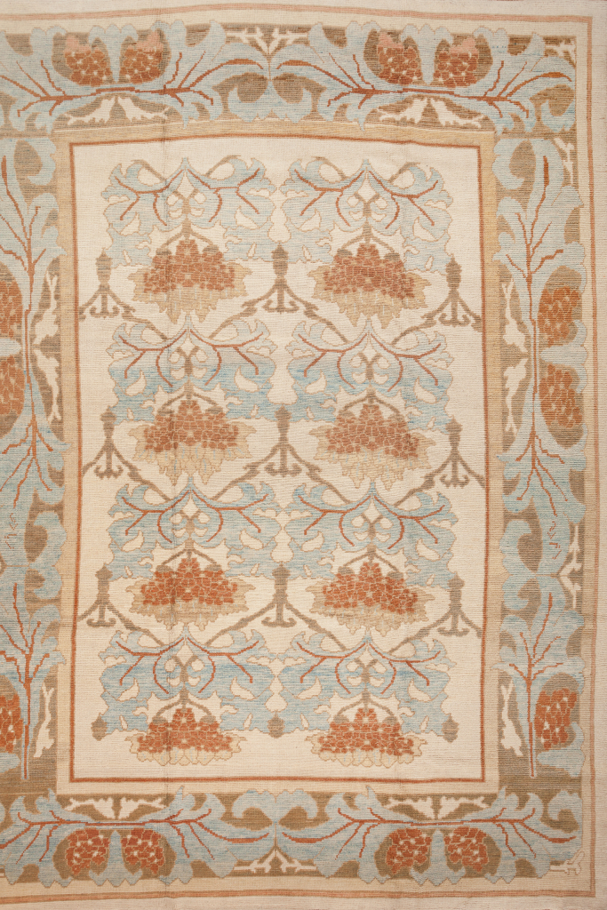 Persian Mahal Large Carpet - Oversize - Wool - Allover Design - Approx 4.5x3.5m (15x11ft) Light colour complexion with accents of light blue and orange