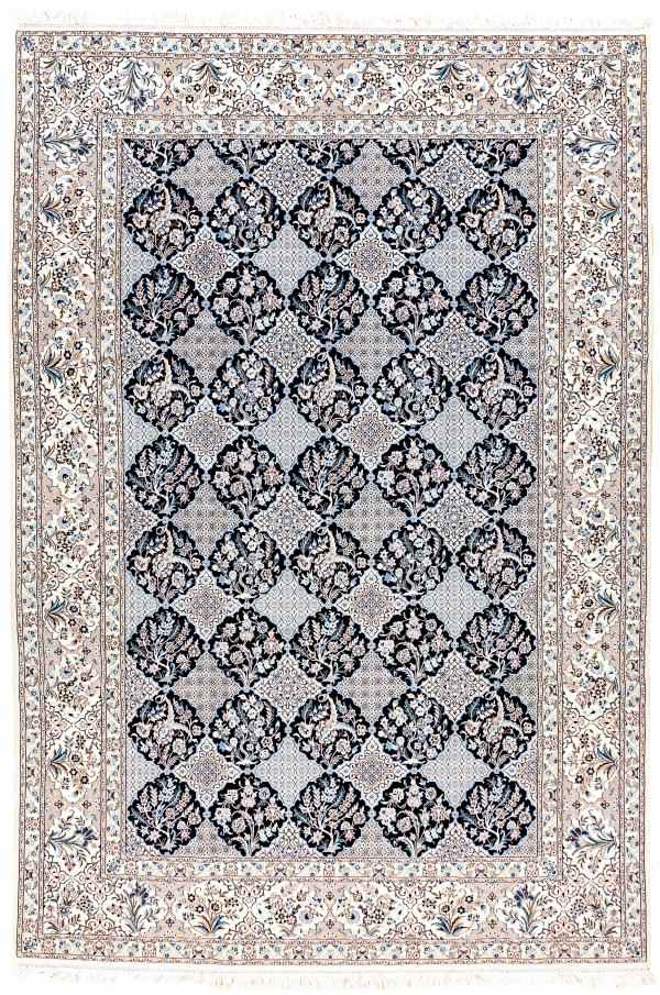 Fine Persian Nain Carpet - Garden Design - Silk and Wool Approx 3x2m (10x7ft)