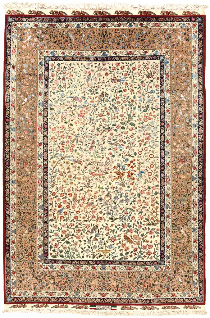Fine Persian Tabriz Silk and Wool Carpet - Birds of Paradise - Approx 3x2m (10x7ft)