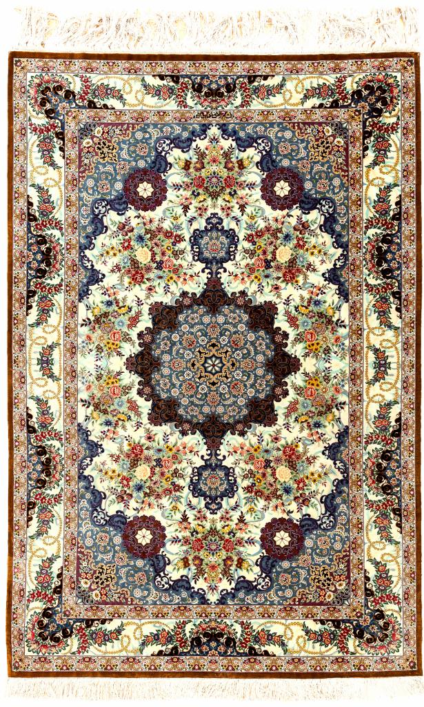 Fine Persian Qum Pure Silk Rug Approx 2x1.5m (7x4ft)