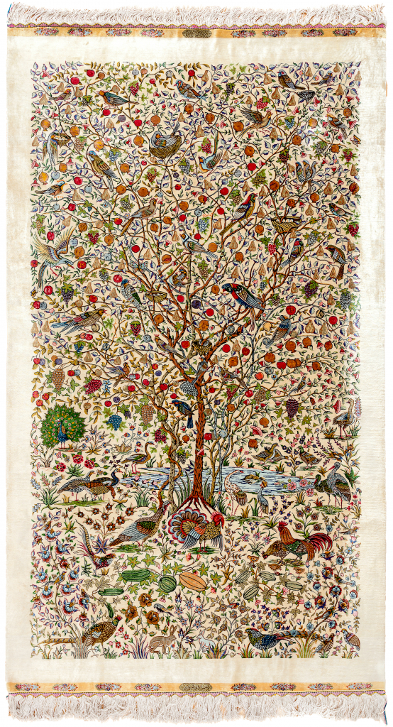 Fine Persian Qum Pure Silk Rug - Tree of Life - Approx 2.5x1.5m (8x4ft) Light complexion with array of colourful foliage and birdlife set against ivory base