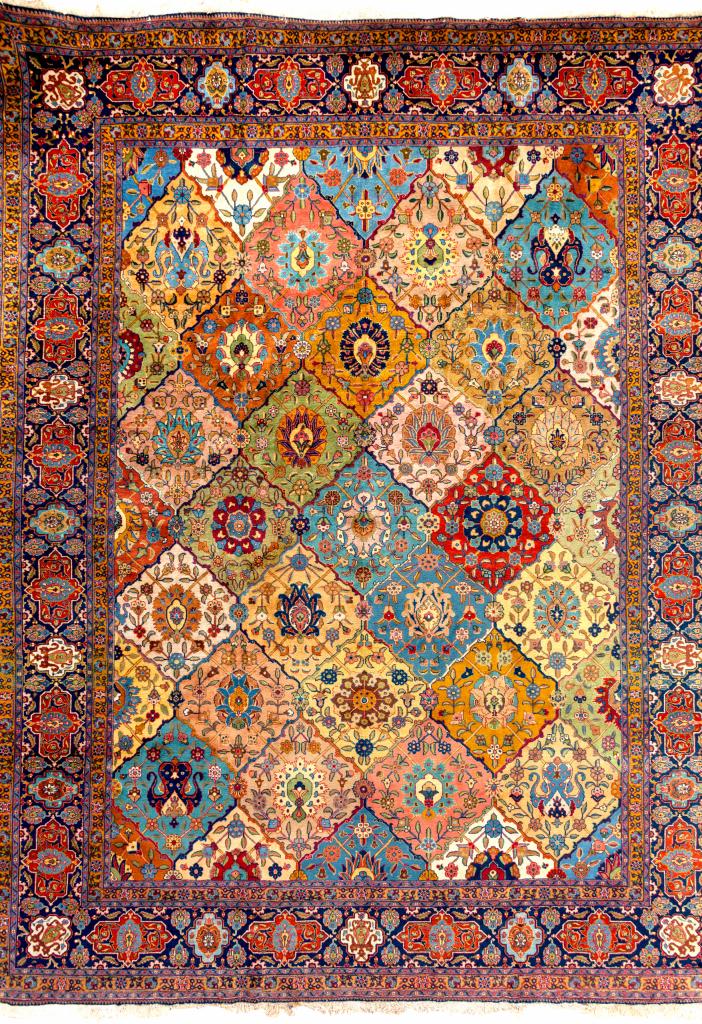 Persian Tabriz Large Carpet - Oversize - Allover Garden Design - Handwoven Wool - Approx 4.5x3.5m (15x11ft) Rich colour complexion